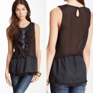 FREE PEOPLE Paint The Town Black Top